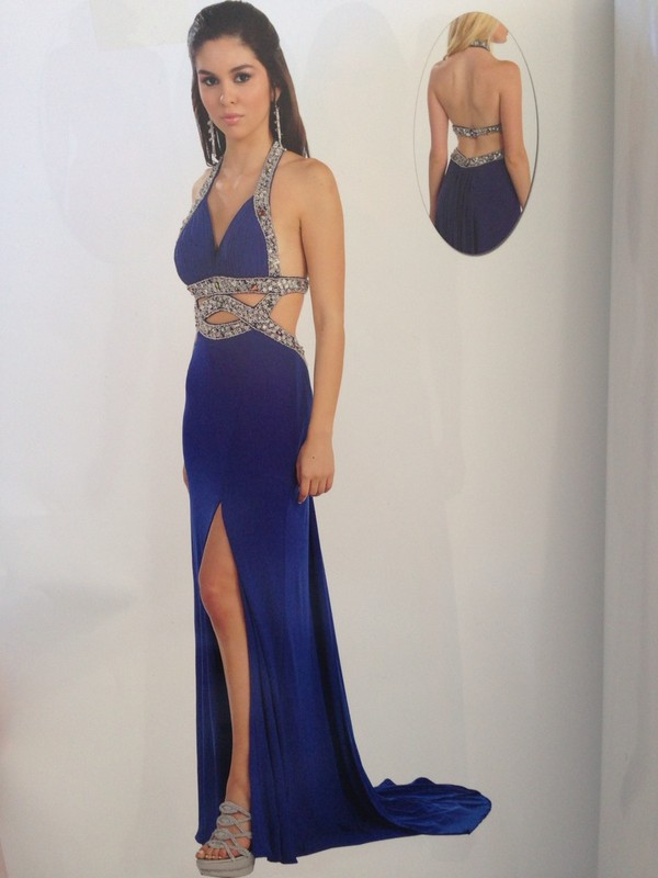 Prom Dresses Mayrq7085ryb Royal Blue Beaded Halter Top Long Sexy