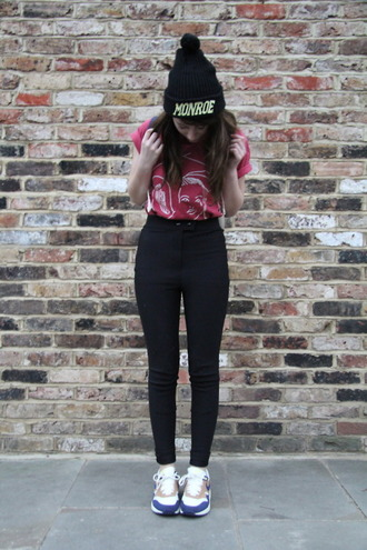 black pants high waisted pom pom beanie shoes hat marilyn monroe high waisted pants pants