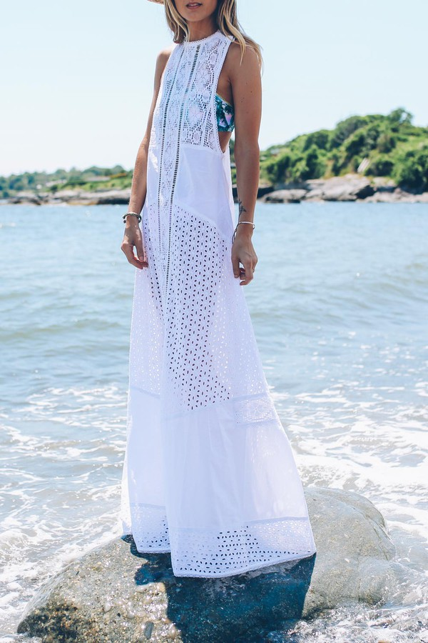 prosecco and plaid blogger patterned swimwear maxi dress romantic summer dress white dress lace dress white lace dress summer dress beach