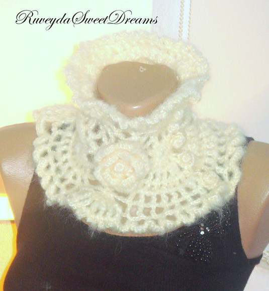 women gift holiday ivory handmade dress hand knit scarf button scarf knit infinity scarf ivory scarf lace scarf scarfves knitted scarfs flower scarf infinity scarves