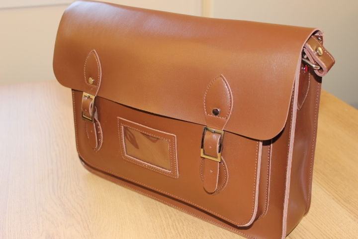 "X LARGE 15"" VINTAGE GENUINE LEATHER SCHOOL SATCHEL MESSENGER SHOULDER BAG BROWN 