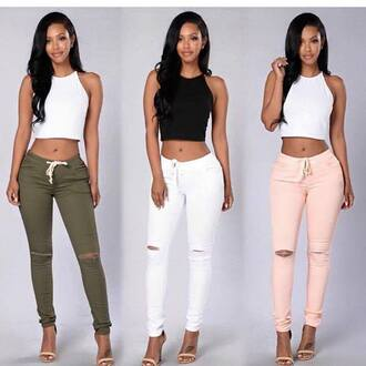 clothes crop tops skinny pants halter crop top light pink white army green pink pants