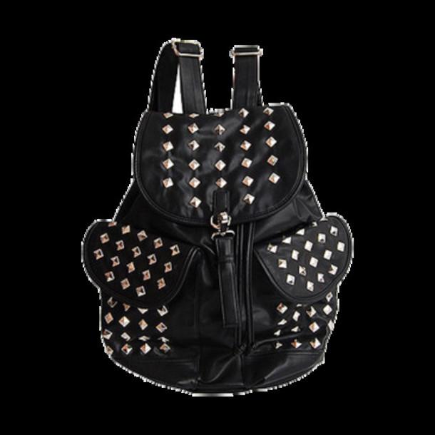 bag studded leather black backpack