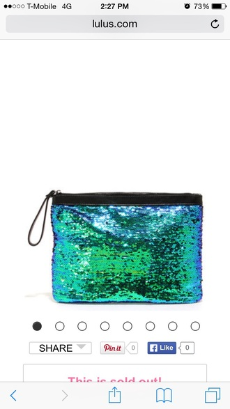 bag sequin blue green clutch multi multicolor
