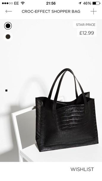 bag black croc effect structured