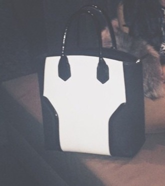 bag black and white purse tote bag