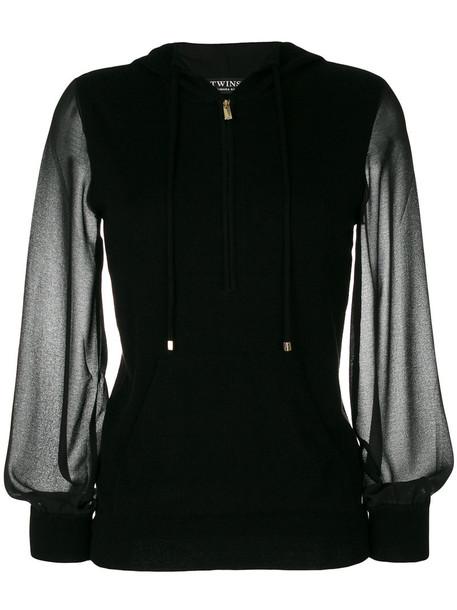 Twin-Set hoodie long sheer women spandex cotton black sweater