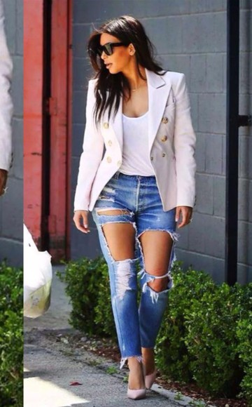 top kim kardashian blouse white jeans hot jacket cardigan sunglasses high heels summer outfits beige nude classy ripped jeans denim skinny pants hot pants coat platform shoes t-shirt crop tops white t-shirt white crop tops denim jacket winter jacket winter outfits style streetwear streetstyle