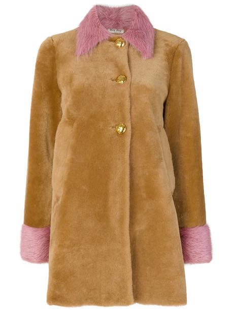 Miu Miu coat fur coat fur women brown