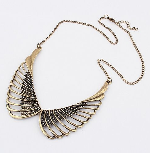Fashion trend exaggerated hollow angel wings tiny dots carving electroplate alloy sweater chain neck