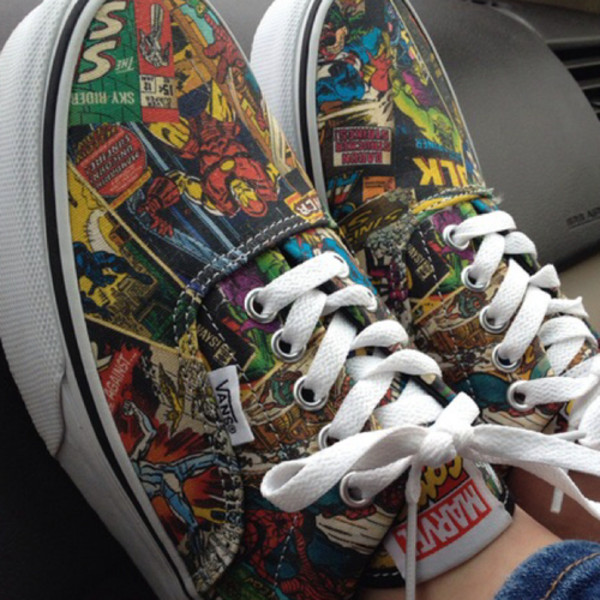shoes marvel tennis cute vans spiderman hulk thor superheroes comicas comic vans marvel superheroes vans of the wall The Avengers girls shoes girl colorful marvel vans