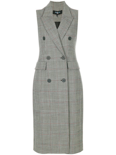 dress plaid dress double breasted women spandex plaid wool grey