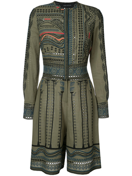 Yigal Azrouel - tribal embroidered romper - women - Cotton - 0, Green, Cotton