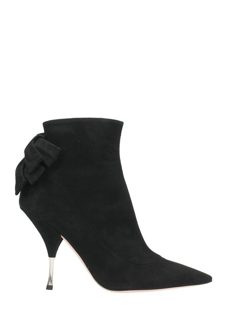 bow suede black shoes