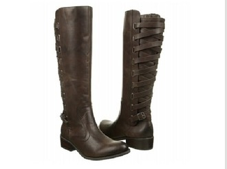 shoes leather boots strappy winter boots brown leather boots