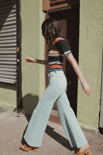 jeans blue jeans denim shoes top flare jeans 70s style striped top stripes