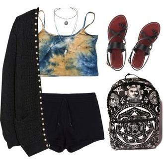 top hippie tie dye tie dye shirt grunge tumblr 90s style 90s grunge boho aesthetic crop tops blue black dress outfit