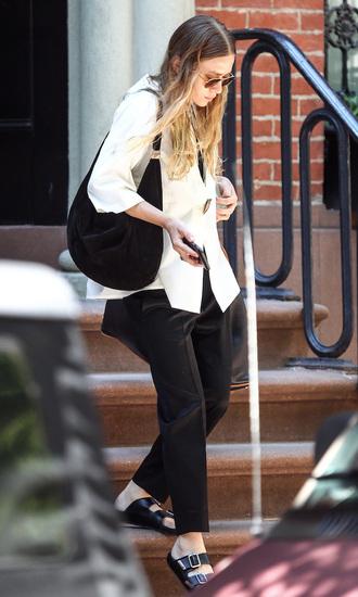 olsen sisters blogger sunglasses shirt bag pants