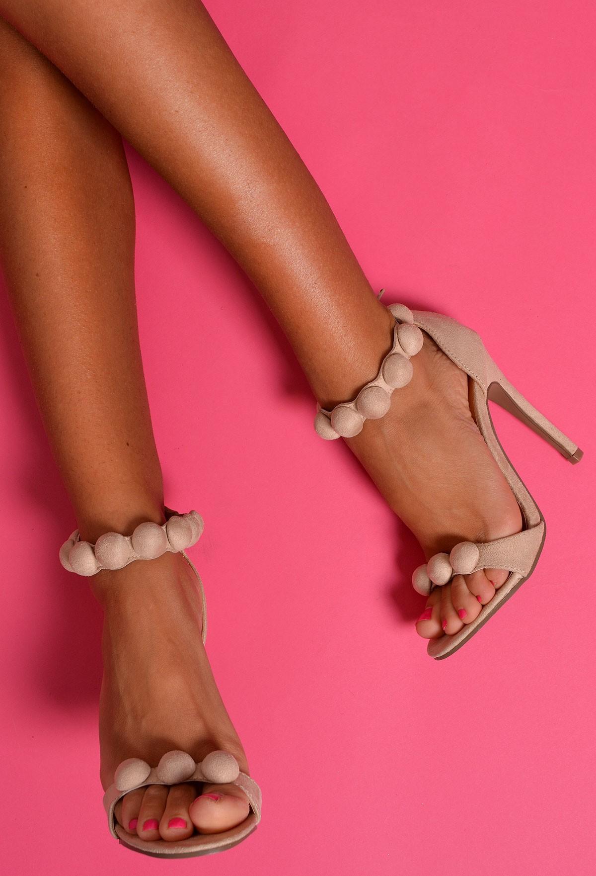 Canberra Cream Pom Pom Heels | Pink Boutique