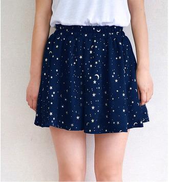 skirt blue skirt galaxy print stars skater skirt cute skirt cute moon