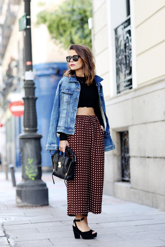 collage vintage sweater jacket pants bag shoes t-shirt jewels black sunglasses black crop top denim jacket printed pants phillip lim blogger black top black bag wide-leg pants platform heels