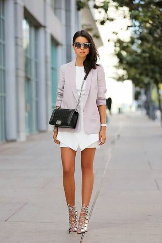 shoes silver sandals sandals sandal heels high heel sandals lace up heels dress mini dress white dress sunglasses viva luxury spring outfits blazer pastel bag chanel chanel bag crossbody bag blogger
