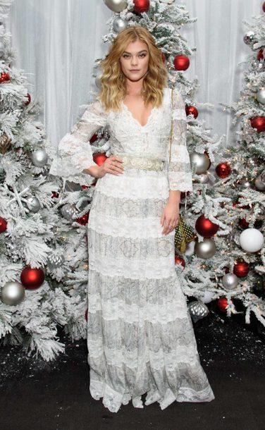 dress white white dress lace dress lace nina agdal model off-duty holiday season maxi dress