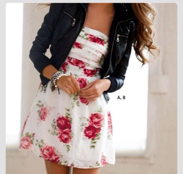 dress rose dress jacket leather jacket floral dress cute dress white dress floral dress roses white floral short dress sleeveless dress spring dress floral dress