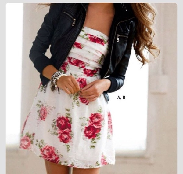 dress rose dress jacket leather jacket floral dress cute dress white dress floral dress roses white floral short dress sleeveless dress spring dress floral dress