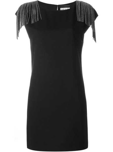 Saint Laurent dress shift dress women black silk wool