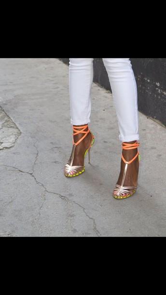 shoes metallic+neon
