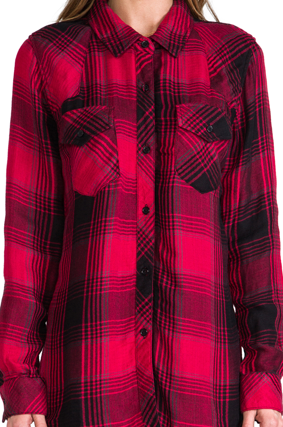 Rails Kendra Button Down in Red & Black | REVOLVE