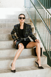 jacket,pumps,blogger,blogger style,plaid,shorts,sunglasses,jamie chung,fall outfits,blazer