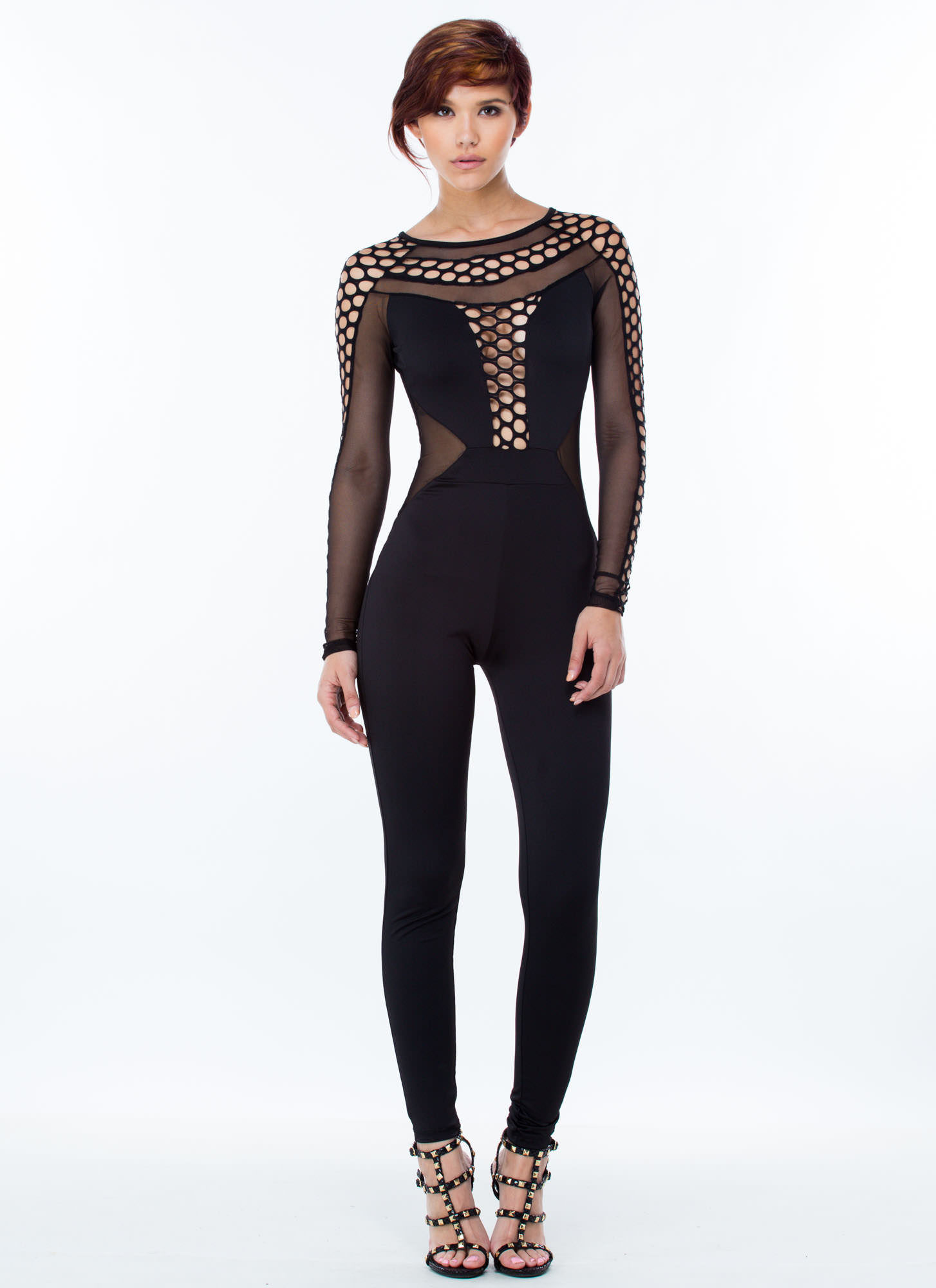 Nothin' But Net Jumpsuit BLACK WHITE - GoJane.com