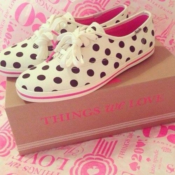 shoes cute sneakers polka dots pink black white keds
