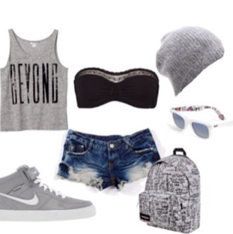 grey beanie black bandeau gray tanktop gray shoes blue jeans shorts