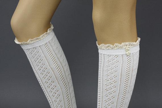 Lacey Sock Cotton Sock Knit Long Knee Socks Ivory