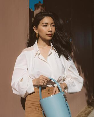 honey n silk blogger top pants bag shoes jewels white shirt blue bag spring outfits
