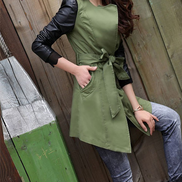 coat long mixing color elegant