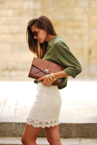 lace skirt skirt nude lace blouse khaki shirt
