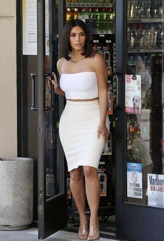 shoes sandals mules skirt bodycon top kim kardashian kardashians white all white everything white top strapless