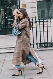 coat,plaid coat,plaid,long coat,brown coat,black shoes,shoes,bag,high heels,heels,handbag