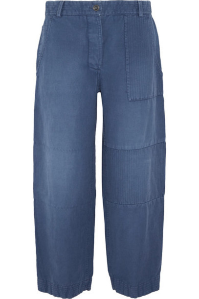 Burberry - Cropped Brushed Ramie And Cotton-blend Pants - Mid denim