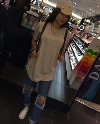 shirt beige long t-shirt tan ralph lauren converse ripped jeans jeans denim hat cap polo shirt nude nude top peach cute tumbr