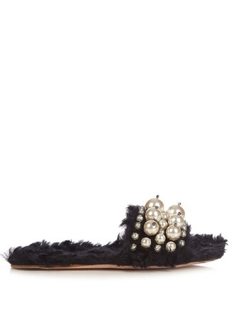 pearl embellished sandals black shoes