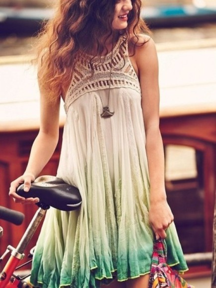 tie dye dress dress ombre mint green hipster dress white summer dress boho summer outfits lace dress dip dye hippie boho dress