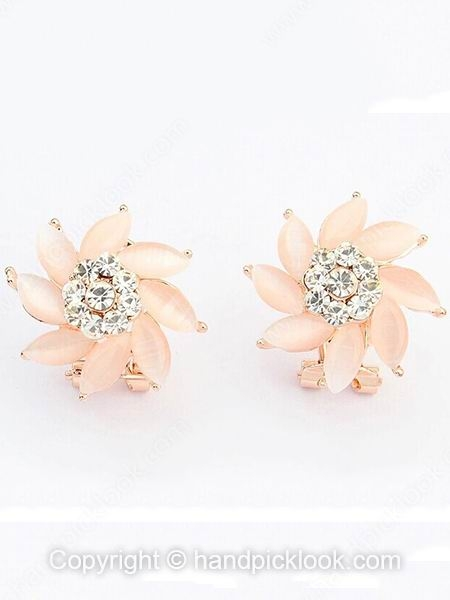 Pink Gemstone Gold Flower Stud Earrings - HandpickLook.com