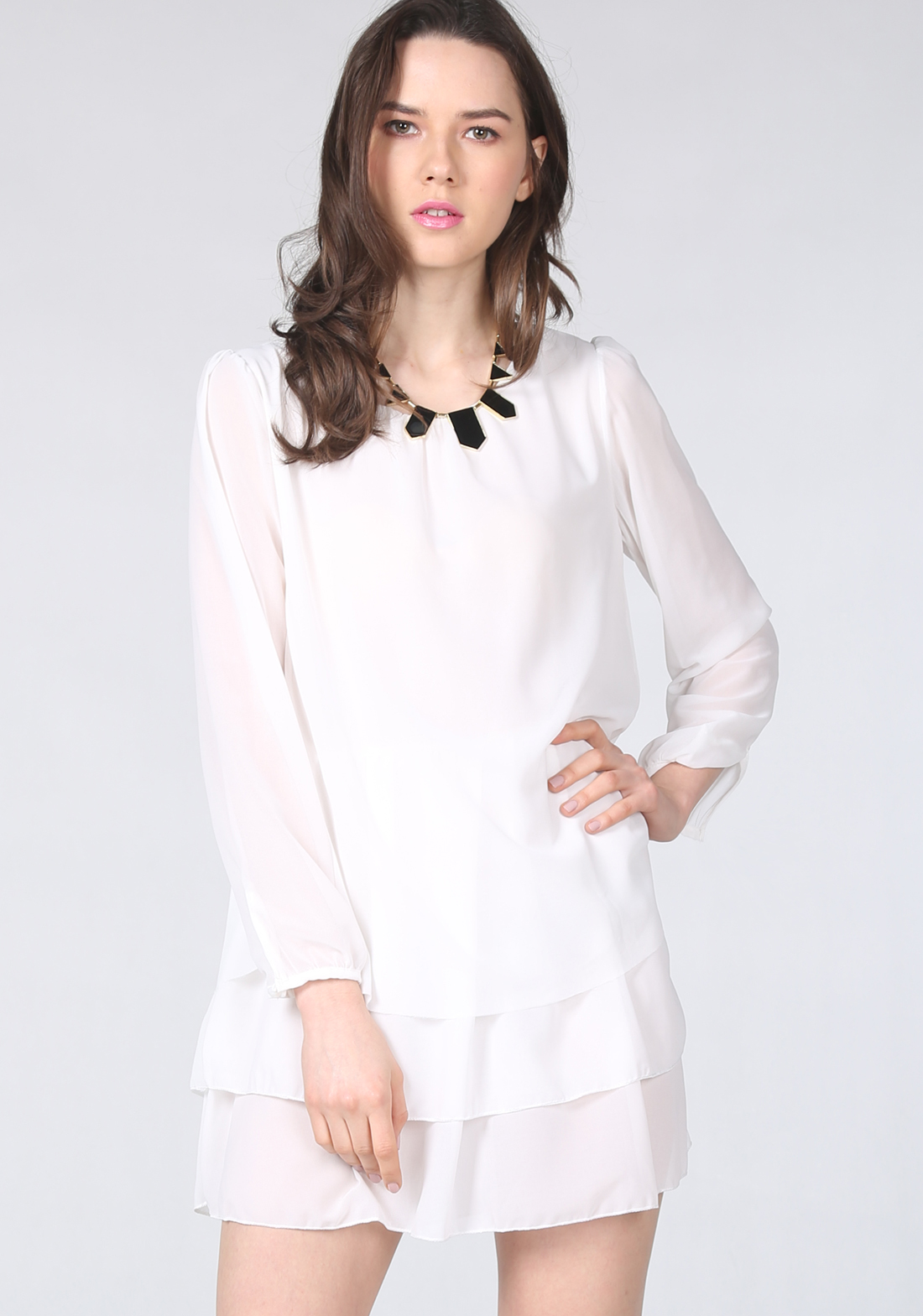 Beige Long Sleeve Cascading Ruffle Chiffon Dress - Sheinside.com