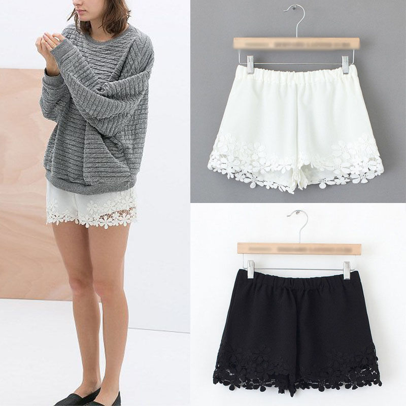 Sexy Women Celeb Lace Hem Chiffon Casual Slim Beach Shorts Elastic Waist Pants | eBay