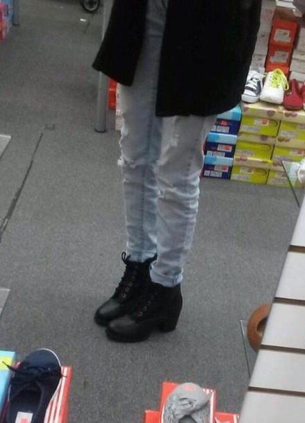 shoes boots chunky boots black boots mid heel boots